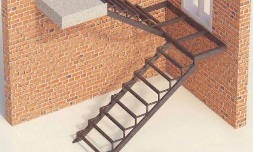 Каркас лестницы закрытого типа с площадкой
