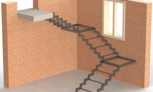 Каркас лестницы открытого типа на ступенчатом косоуре с двумя площадками