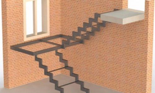 Каркас лестницы открытого типа на ступенчатом косоуре с площадкой
