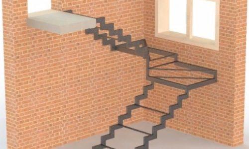 Каркас лестницы открытого типа на ступенчатом косоуре с поворотно-забежными ступенями