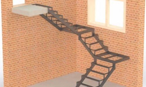 Каркас лестницы с двумя площадками